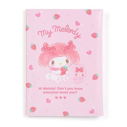 〔小禮堂〕美樂蒂 直式扣式票據收納本《粉白.拿草莓》卡片夾.票據夾.收納夾