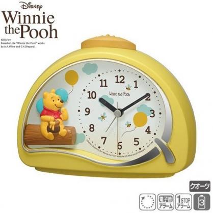 〔小禮堂〕迪士尼 小熊維尼 半圓型鬧鐘《黃.吃蜂蜜》時鐘.桌鐘