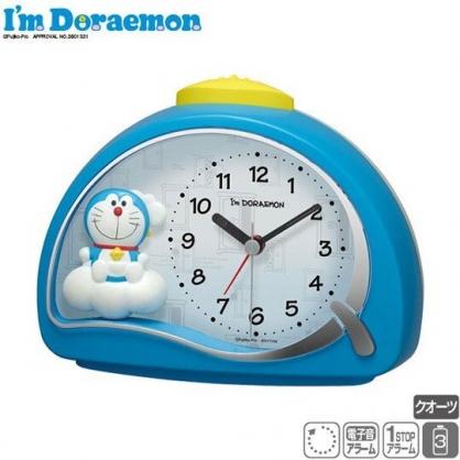 〔小禮堂〕哆啦A夢 半圓型鬧鐘《藍.雲朵上》時鐘.桌鐘
