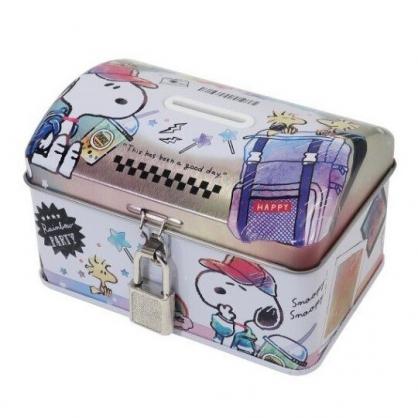 〔小禮堂〕史努比 方形鐵製存錢筒附鎖《粉白.相片》撲滿.儲金筒.收納盒