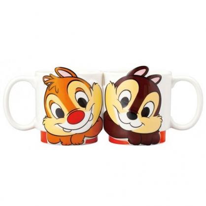 〔小禮堂〕迪士尼 奇奇蒂蒂 造型陶瓷馬克杯組《橘白.大臉》270ml.茶杯.咖啡杯.對杯