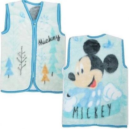 〔小禮堂〕迪士尼 米奇 成人絨毛拉鍊背心毯《藍白.樹木》70x50cm.保暖毯
