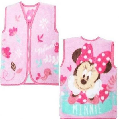 〔小禮堂〕迪士尼 米妮 成人絨毛拉鍊背心毯《粉綠.花朵》70x50cm.保暖毯