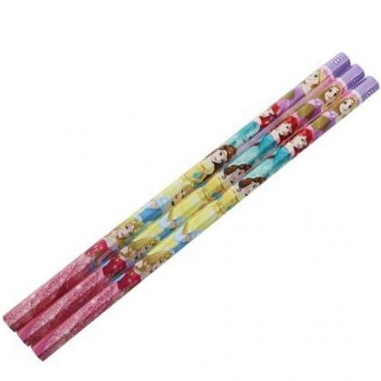 〔小禮堂〕迪士尼 公主 日製六角鉛筆組《3入.粉紫.禮服》B.學童文具