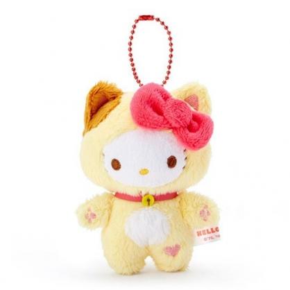 〔小禮堂〕Hello Kitty 貓裝絨毛玩偶娃娃吊飾《粉黃》掛飾.鑰匙圈.2020新春特輯
