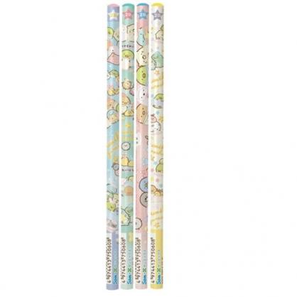 〔小禮堂〕角落生物 日製圓桿鉛筆組《4入.綠黃.睡衣》2B.學童文具