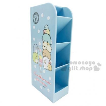 〔小禮堂〕角落生物 桌上型四層直式收納盒《藍.冰淇淋》置物盒.筆筒.刷具筒