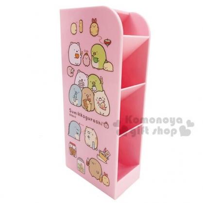 〔小禮堂〕角落生物 桌上型四層直式收納盒《粉.吃東西》置物盒.筆筒.刷具筒
