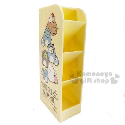 〔小禮堂〕角落生物 桌上型四層直式收納盒《黃.變裝》置物盒.筆筒.刷具筒