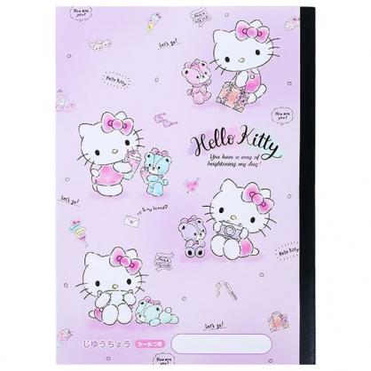 〔小禮堂〕Hello Kitty 日製騎馬釘空白頁筆記本《B5.紫.彩色熊》手札.日記本.記事本