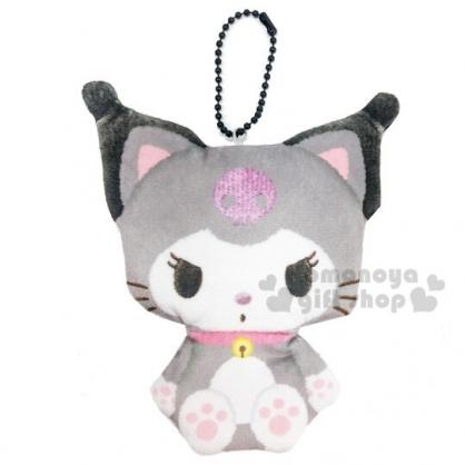 〔小禮堂〕酷洛米 貓裝造型絨布吊飾零錢包《黑灰》收納包.鑰匙圈.掛飾