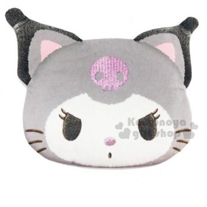 〔小禮堂〕酷洛米 貓裝大臉造型絨布化妝包《黑灰》零錢包.收納包
