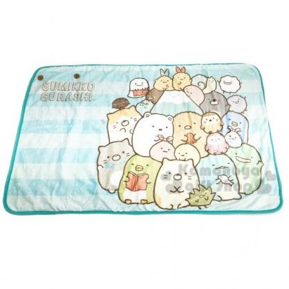 〔小禮堂〕角落生物 圓角毛毯披肩《淡綠.橫條》70x115cm.薄毯.單人毯