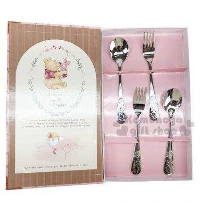 〔小禮堂〕迪士尼 小熊維尼 書本盒裝不鏽鋼餐具組《4入.粉》湯叉.環保餐具.兒童餐具