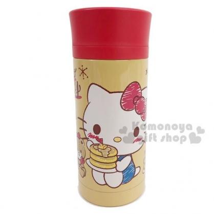 〔小禮堂〕Hello Kitty 旋轉蓋不鏽鋼保溫瓶《棕紅.鬆餅》350ml.水壺.水瓶.隨手瓶
