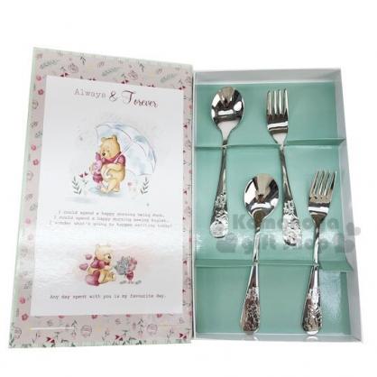 〔小禮堂〕迪士尼 小熊維尼 書本盒裝不鏽鋼餐具組《4入.綠》湯叉.環保餐具.兒童餐具