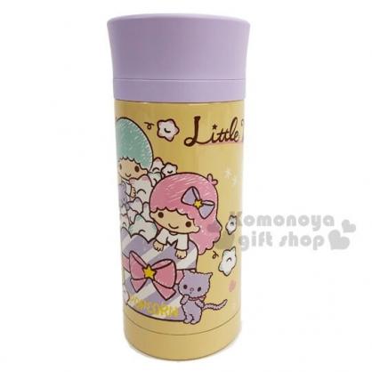 〔小禮堂〕雙子星 旋轉蓋不鏽鋼保溫瓶《棕紫.爆米花》350ml.水壺.水瓶.隨手瓶