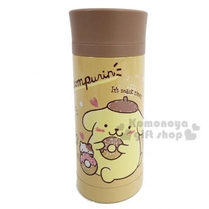 〔小禮堂〕布丁狗 旋轉蓋不鏽鋼保溫瓶《棕黃.甜甜圈》350ml.水壺.水瓶.隨手瓶