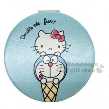 〔小禮堂〕Hello Kitty x 哆啦A夢 皮質圓形隨身雙面鏡《藍米.甜筒》放大鏡.折鏡