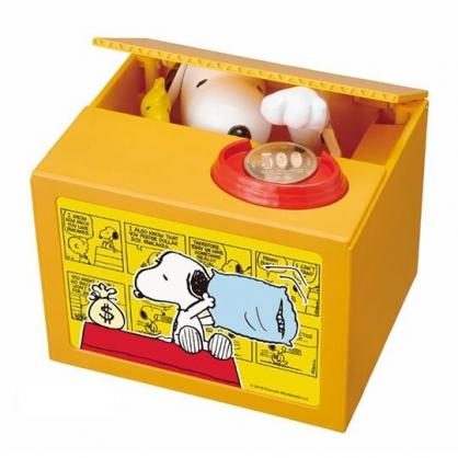 〔小禮堂〕史努比 偷錢箱存錢筒《紅黃.坐屋頂》撲滿.儲金筒