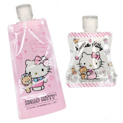 〔小禮堂〕Hello Kitty 可捲式塑膠分裝袋組《2入.粉白.小熊》乳液袋.分類袋.銅板小物