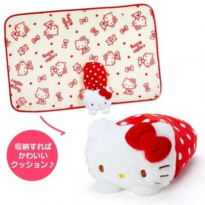 〔小禮堂〕Hello Kitty 造型可收納毛毯披肩《紅白》70x100cm.單人毯.2019冬日系列