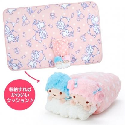 〔小禮堂〕雙子星 造型可收納毛毯披肩《粉藍》70x100cm.單人毯.2019冬日系列