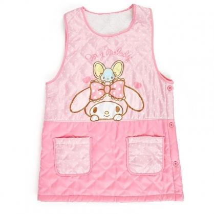 〔小禮堂〕美樂蒂 背心式扣式保暖圍裙《粉白.點點》60x80cm.工作服.保暖背心