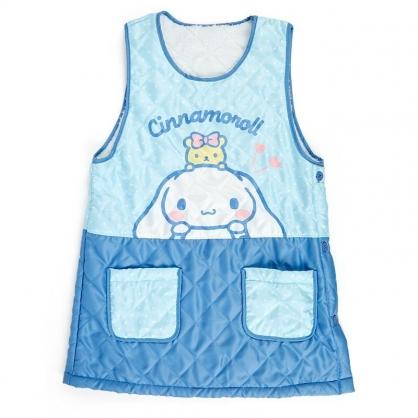 〔小禮堂〕大耳狗 背心式扣式保暖圍裙《藍白.點點》60x80cm.工作服.保暖背心