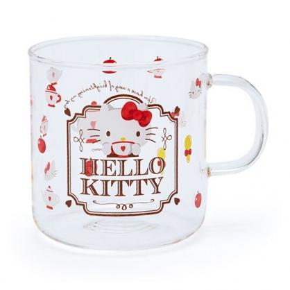 〔小禮堂〕Hello Kitty 透明耐熱玻璃馬克杯《紅.下午茶》350ml.咖啡杯.水杯