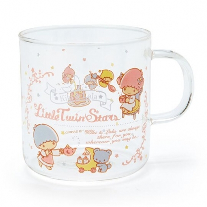 〔小禮堂〕雙子星 透明耐熱玻璃馬克杯《粉.下午茶》350ml.咖啡杯.水杯
