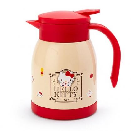 〔小禮堂〕Hello Kitty 單耳旋轉蓋不鏽鋼茶壺《米紅.下午茶》600ml.水壺.咖啡壺