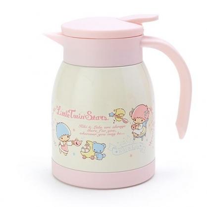〔小禮堂〕雙子星 單耳旋轉蓋不鏽鋼茶壺《粉白.下午茶》600ml.水壺.咖啡壺