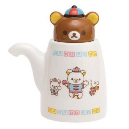 〔小禮堂〕懶懶熊 拉拉熊 造型陶瓷醬油瓶《棕白.中國服》調味瓶.醋瓶