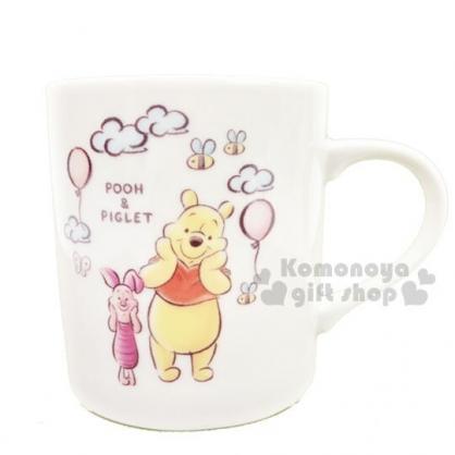 〔小禮堂〕迪士尼 小熊維尼 日製陶瓷馬克杯《白黃.汽球》茶杯.咖啡杯