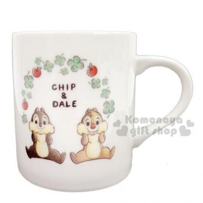 〔小禮堂〕迪士尼 奇奇蒂蒂 日製陶瓷馬克杯《白綠.幸運草》茶杯.咖啡杯