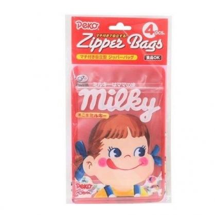 〔小禮堂〕不二家PEKO 方形透明夾鏈袋組《4入.紅.大臉》密封袋.分類袋.食物袋