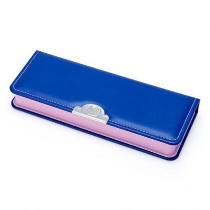 〔小禮堂〕Hello Kitty 皮質硬殼掀蓋鉛筆盒《藍.大臉》筆袋.學童文具