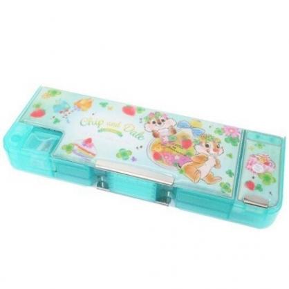 〔小禮堂〕迪士尼 奇奇蒂蒂 雙開多功能鉛筆盒《綠白.燈泡花》筆袋.學童文具
