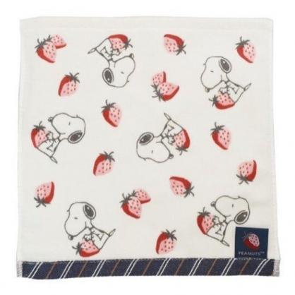 〔小禮堂〕史努比 純棉割絨小方巾《粉米.草莓滿版》25x25cm.毛巾.手帕