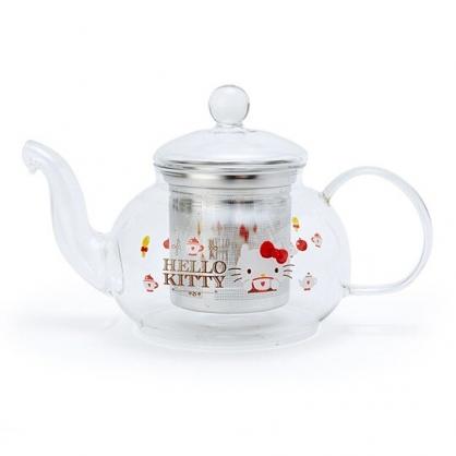 〔小禮堂〕Hello Kitty 透明耐熱玻璃茶壺《紅.下午茶》600ml.咖啡壺.水壺
