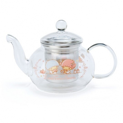 〔小禮堂〕雙子星 透明耐熱玻璃茶壺《粉.下午茶》600ml.咖啡壺.水壺