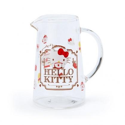 〔小禮堂〕Hello Kitty 無蓋透明耐熱玻璃牛奶盅《紅.下午茶》75ml.奶精盅.果醬盅