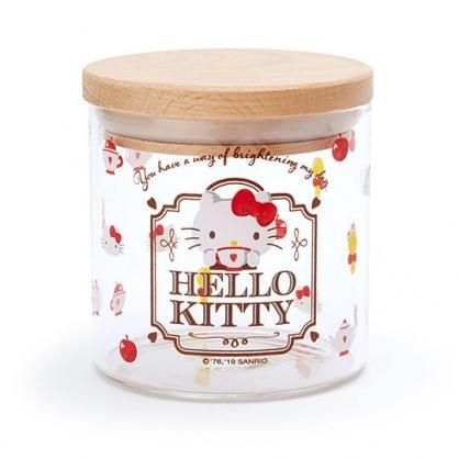 〔小禮堂〕Hello Kitty 木蓋透明耐熱玻璃收納罐《紅.下午茶》300ml.置物罐.餅乾罐