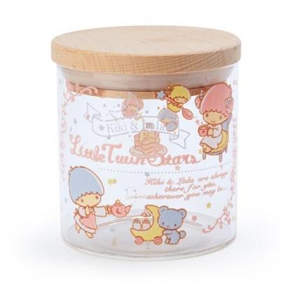 〔小禮堂〕雙子星 木蓋透明耐熱玻璃收納罐《粉.下午茶》300ml.置物罐.餅乾罐