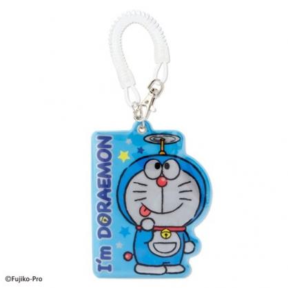 〔小禮堂〕哆啦A夢 造型鐳射光彈簧繩票卡夾《藍白.吐舌》證件夾.車票夾.卡套