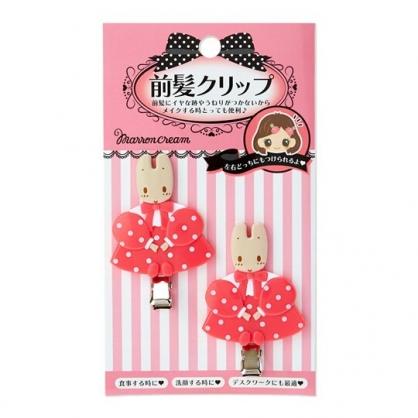 〔小禮堂〕兔媽媽 全身造型塑膠鐵製髮夾組《2入.粉》瀏海夾.鴨嘴夾.髮飾