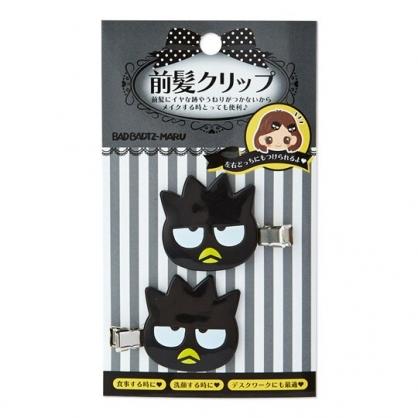 〔小禮堂〕酷企鵝 大臉造型塑膠鐵製髮夾組《2入.黑》瀏海夾.鴨嘴夾.髮飾