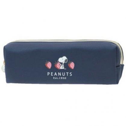 〔小禮堂〕史努比 皮質雙層拉鍊筆袋《藍白.草莓》收納包.化妝包.鉛筆盒