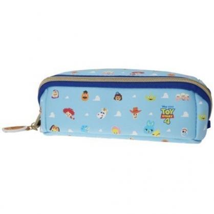 〔小禮堂〕迪士尼 玩具總動員4 方形皮質拉鍊筆袋《藍白.雲朵》收納包.化妝包.鉛筆盒